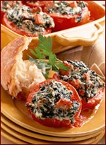 Fast & Easy Dinner: Tomatoes Stuffed With Spinach & Ham