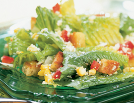 Fast & Easy Dinner: Corn and Red Pepper Caesar Salad
