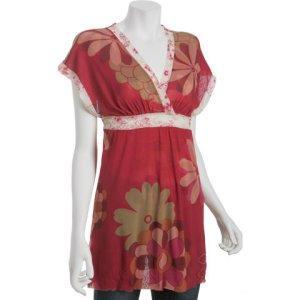 TROPICAL PRINT: Sweet Pea brick floral mesh v-neck tunic
