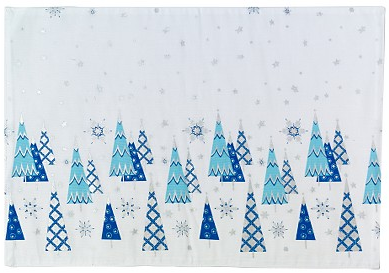Deck the Haus: Martha Stewart For KMart Blue and Silver Christmas Tree Placemat