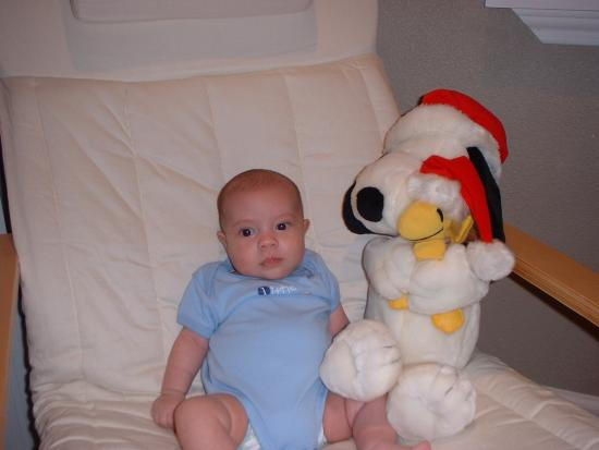 Keanu with his Snoopy & Woodstock at 3 months old Christmas 2005