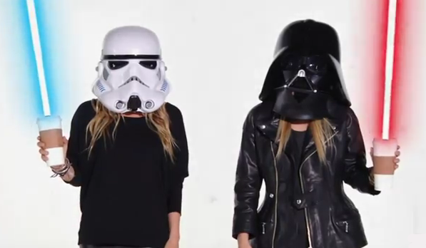 Mary-Kate Olsen and Ashley Olsen had lightsaber coffee cups for one costume.