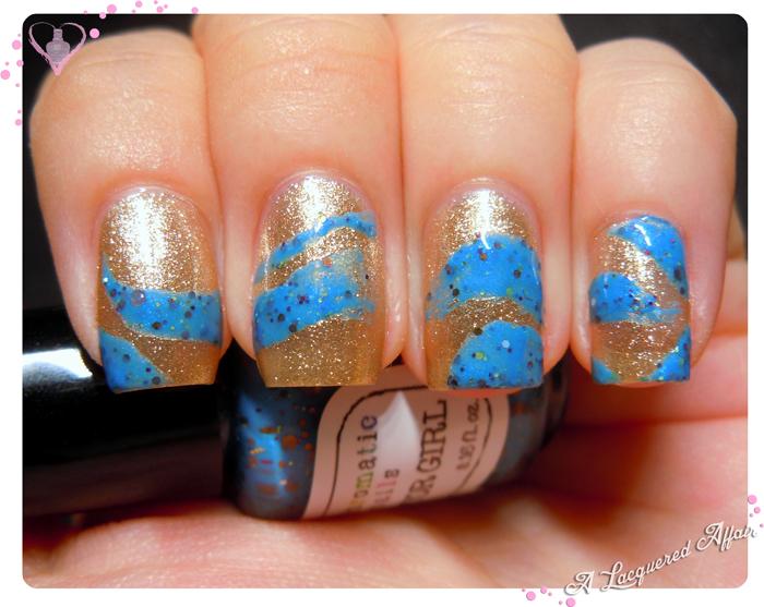 Fanchromatic Nails Raptor Girl swirl over Etude House 01