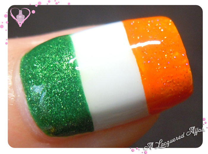 St. Patrick's Day nail art - Irish Flag