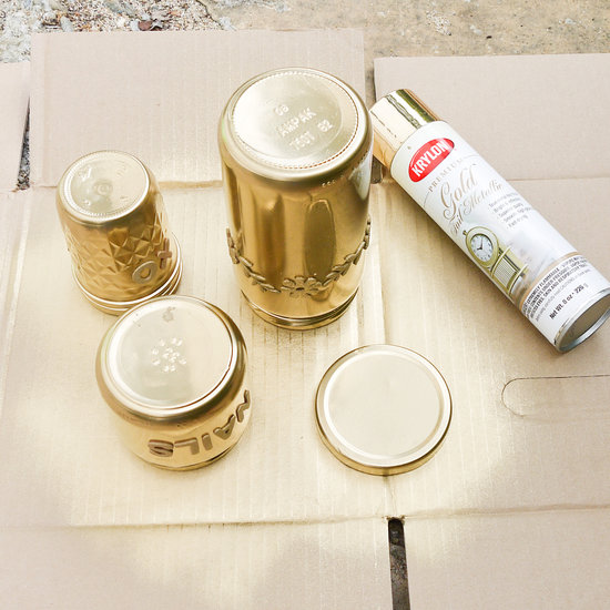 gold spray painted glass jars popsugar smart living
