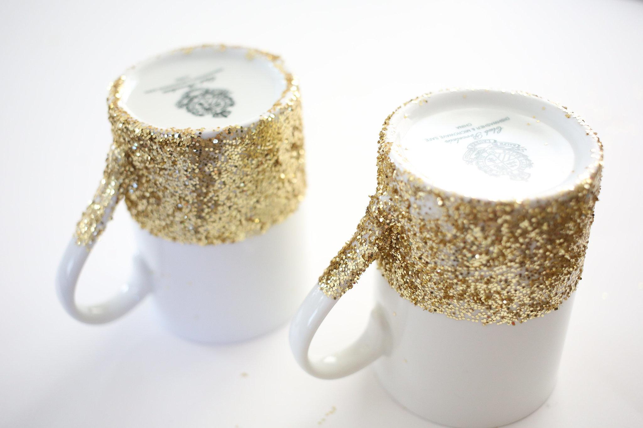 DIY Dishwasher-Safe Glitter-Dipped Mugs POPSUGAR Smart Living