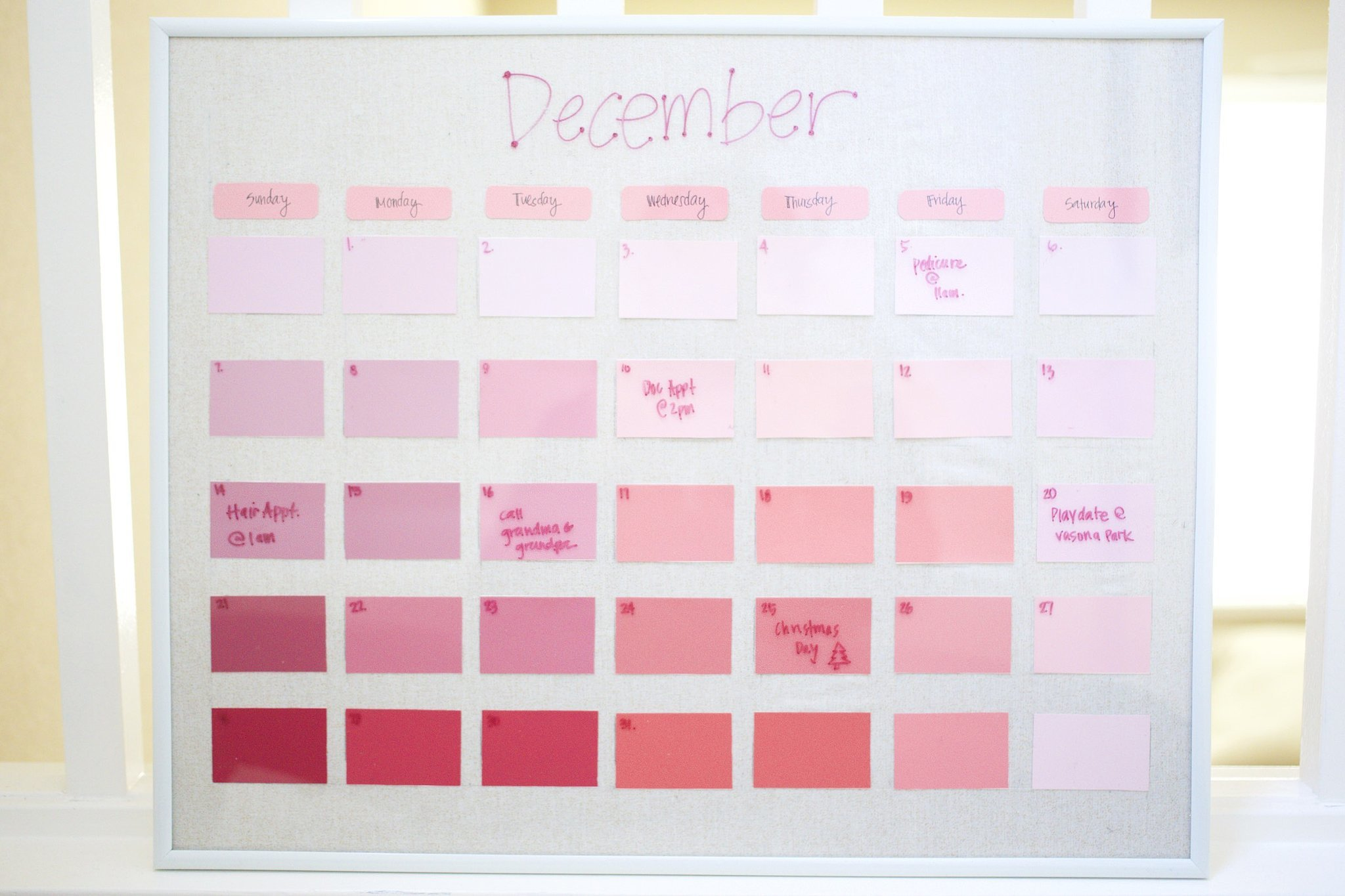 Diy Calendar December : Diy reusable paint chip calendar popsugar smart living