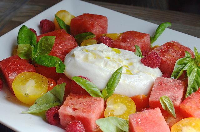 Watermelon tomato and burrata salad recipe popsugar food share this link sisterspd