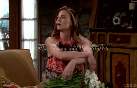 phyllis newman red and black floral printed halter top the young and the restless