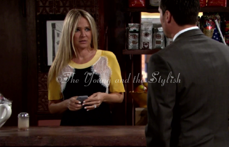 sharon newman black yellow and white lace top the young and the restless
