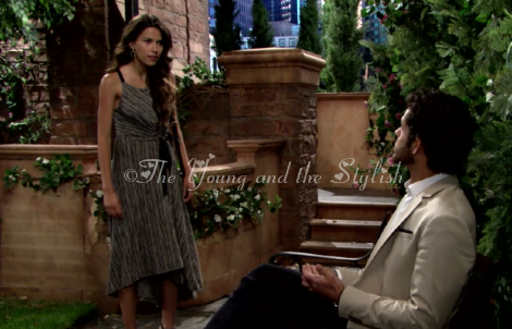 marisa sierras black and white striped dress the young and the restless