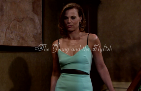 phyllis newman green and black dress the young and the restless