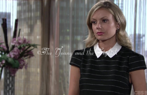 abby newman black striped top the young and the restless