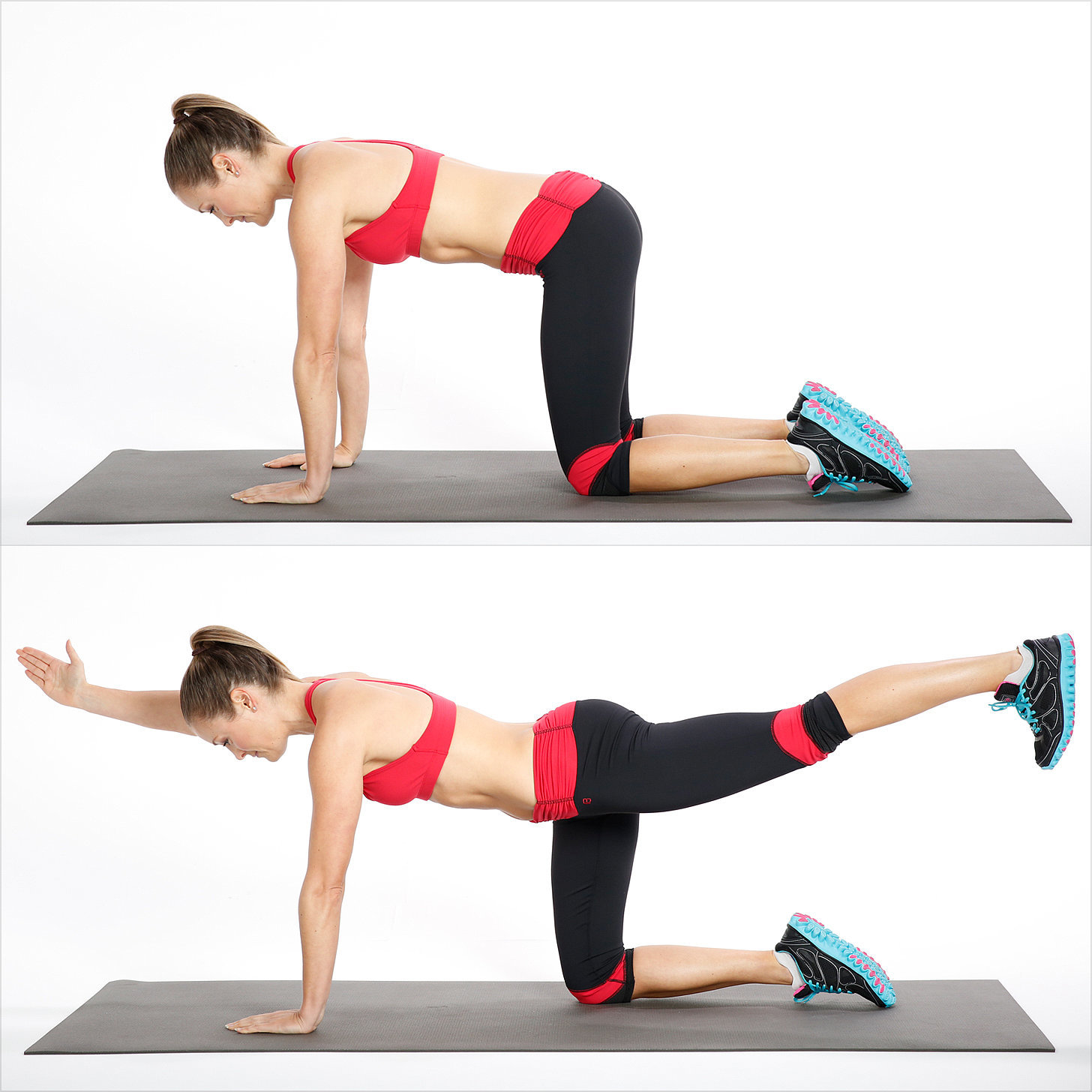 How to do bird dog exercise for your back popsugar fitness for 1 2 3 4 all the ladies on the floor