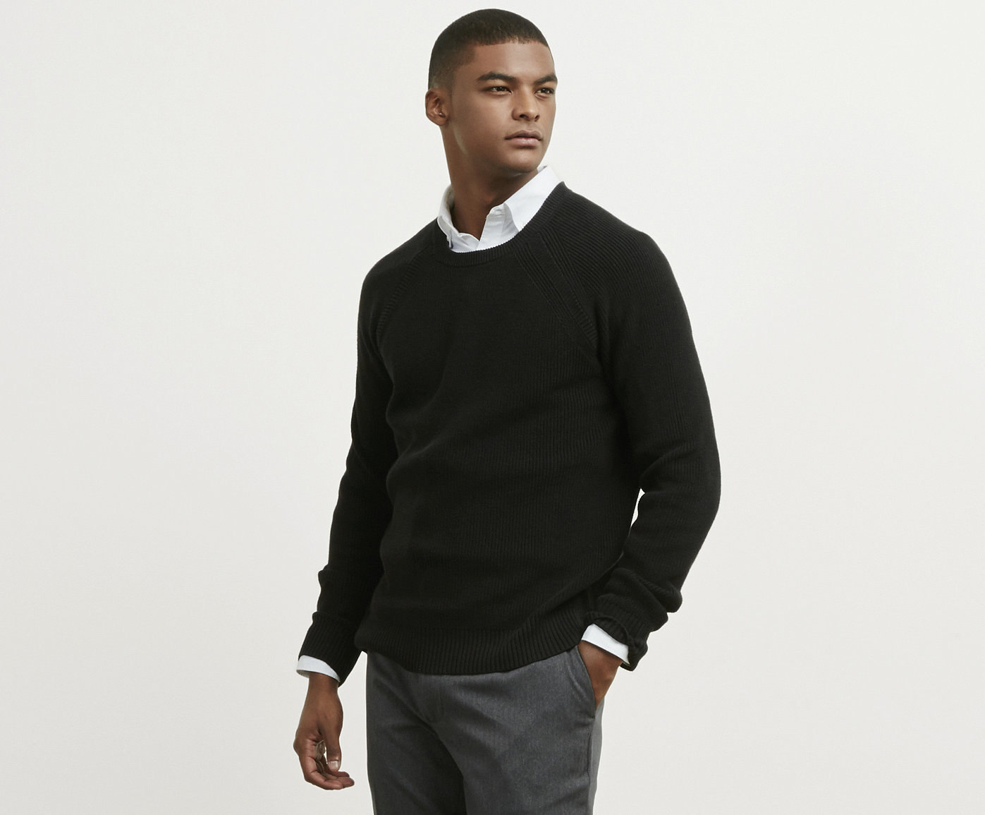 what to wear men s interview outfit ideas kenneth cole black crew neck sweater mens interview style