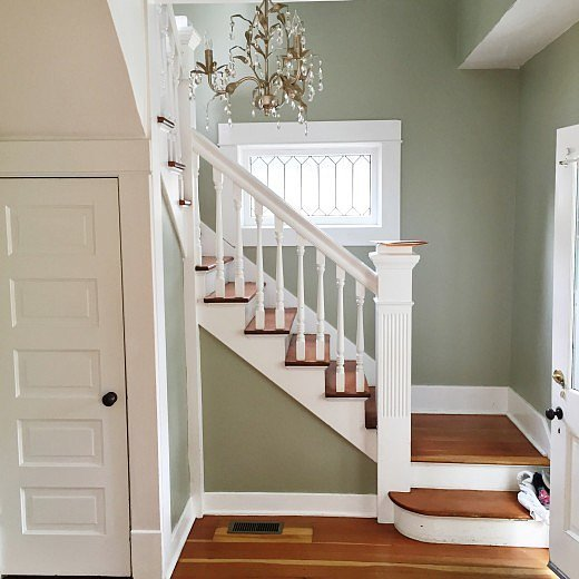 how to modernize a staircase with paint popsugar home. Black Bedroom Furniture Sets. Home Design Ideas