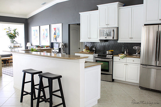 gray kitchen walls with white cabinets how to make a kitchen with paint popsugar home 16021