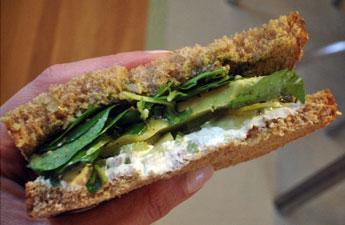 Goat Cheese Sandwich With Avocado, Celery, Walnut Pesto, and Watercress