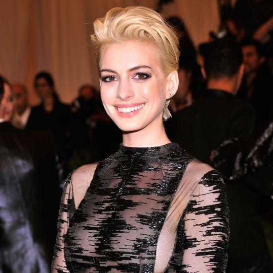 Anne Hathaway Eye Color: Anne Hathaway Blond Hair At Met Gala 2013