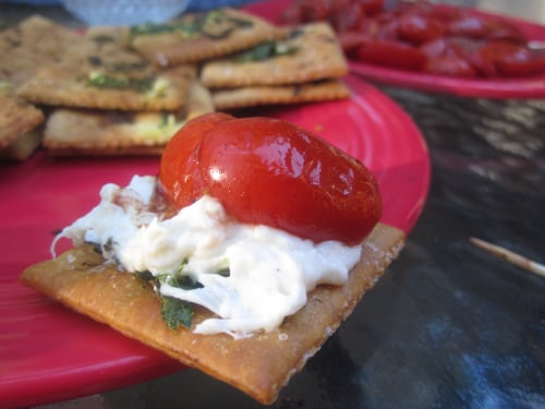 Crab Dip With Garlic Saltines and Roasted Cherry Tomatoes