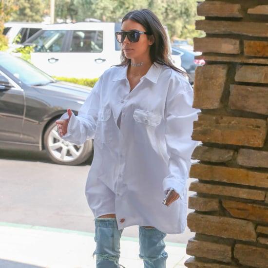 Kim Kardashian Wearing Denim Over-the-Knee Boots June 2016