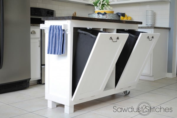 Portable Kitchen Islands With Trash And Recycle Bins