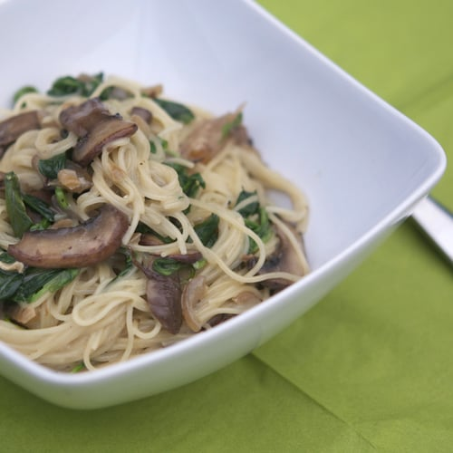 Angel Hair Pasta With Brie Sauce, Mushrooms, Spinach, and Onions