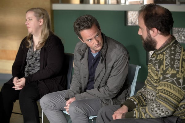 Sarah Baker, Matthew Perry, and Brett Gelman in Go On.</p> <p>Photo courtesy of NBC