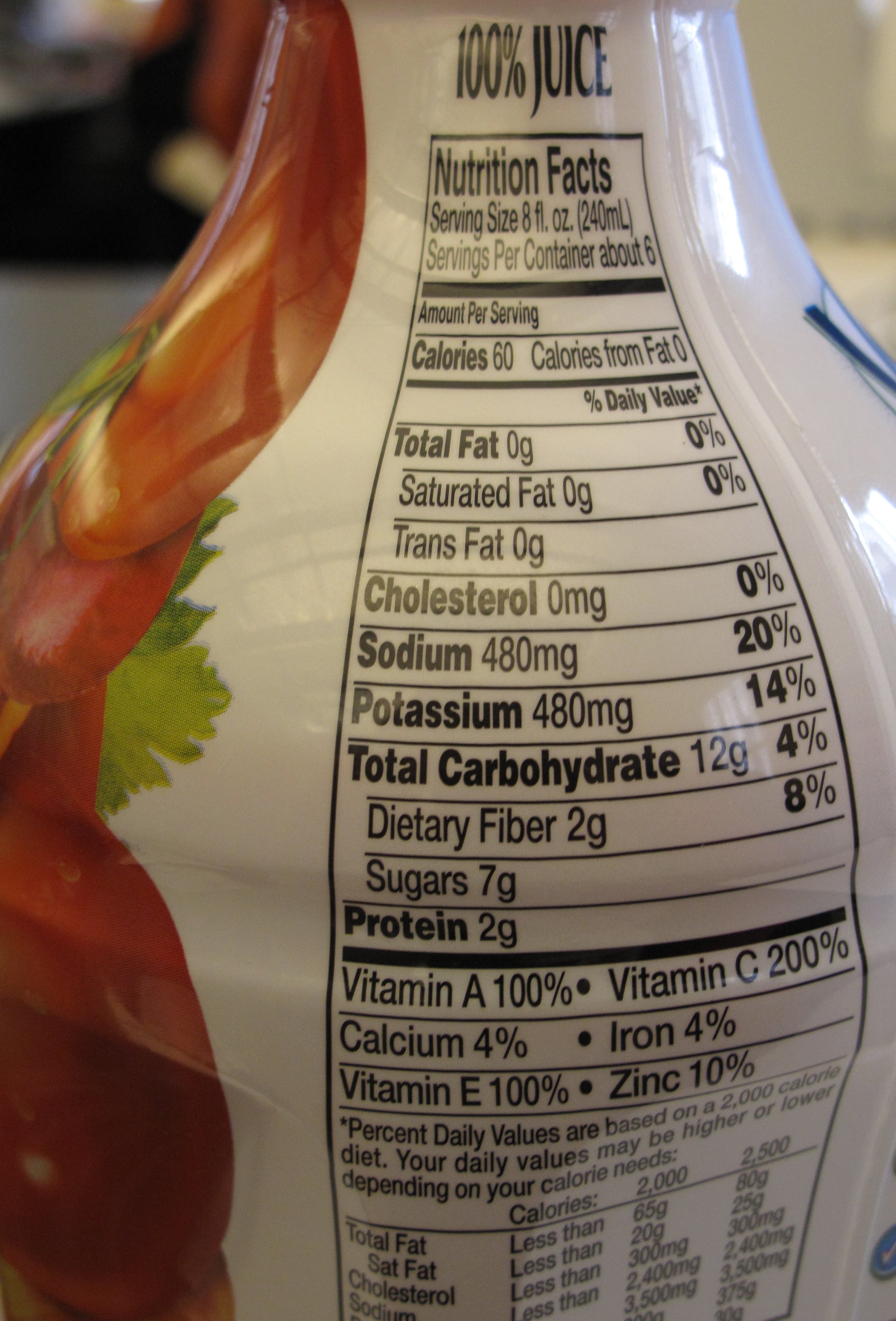 The nutritional content of V8, for one cup.