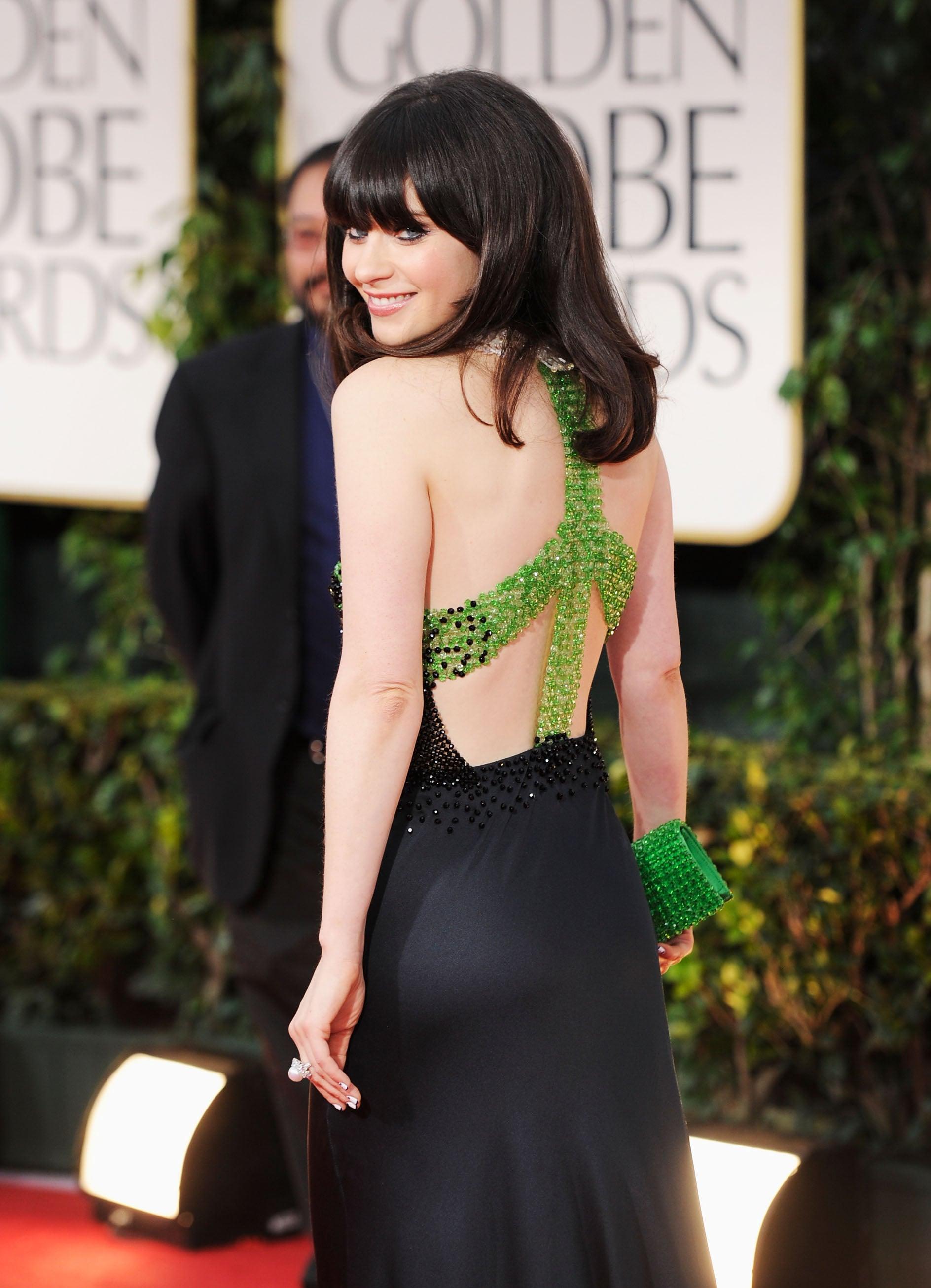 Zooey Deschanel in Prada at the Golden Globes.