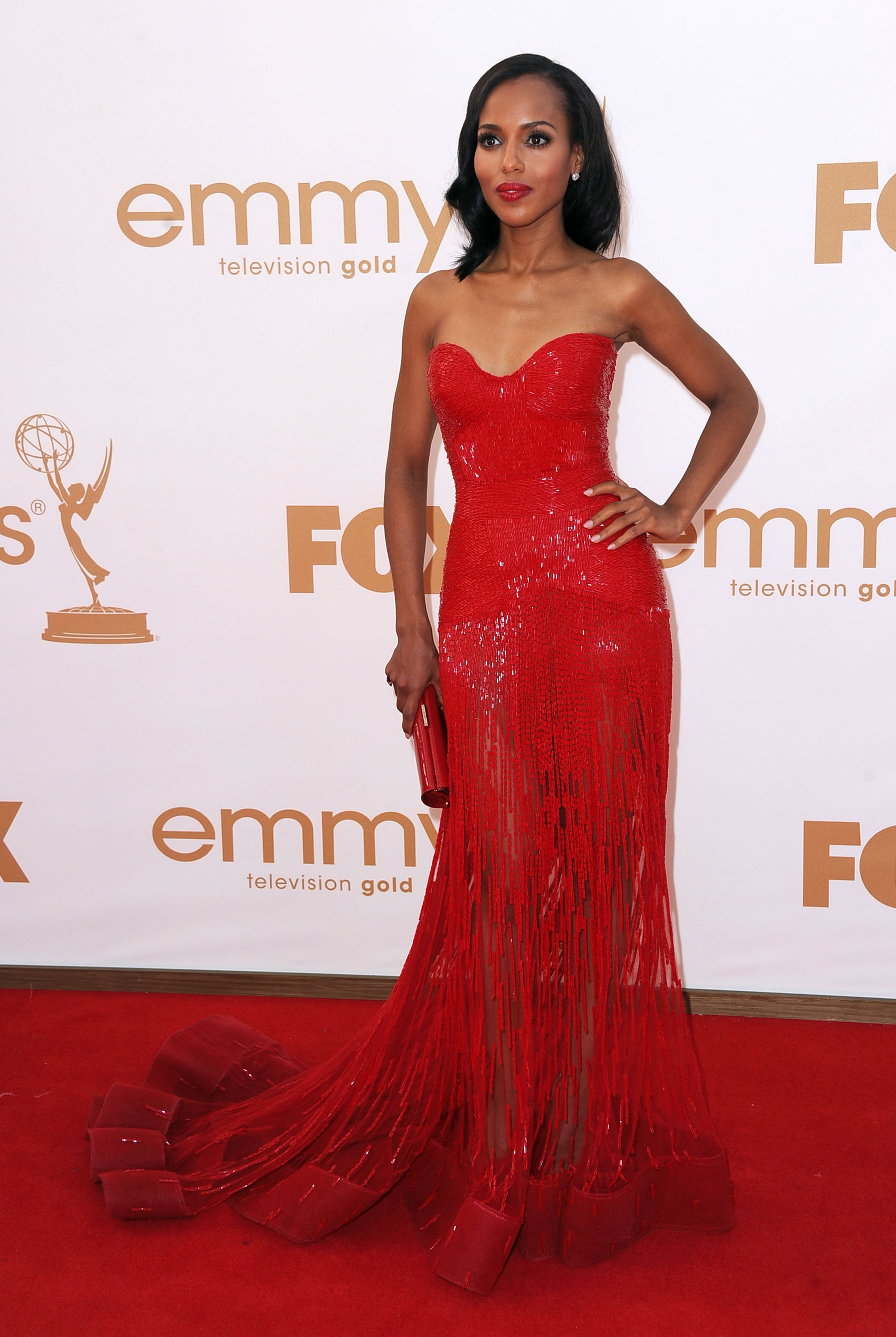 Kerry Washington in red at the Emmys.
