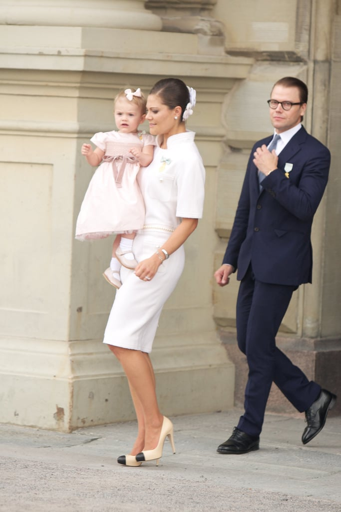 Crown Princess Victoria wearing Chanel at a celebration for the Swedish king.