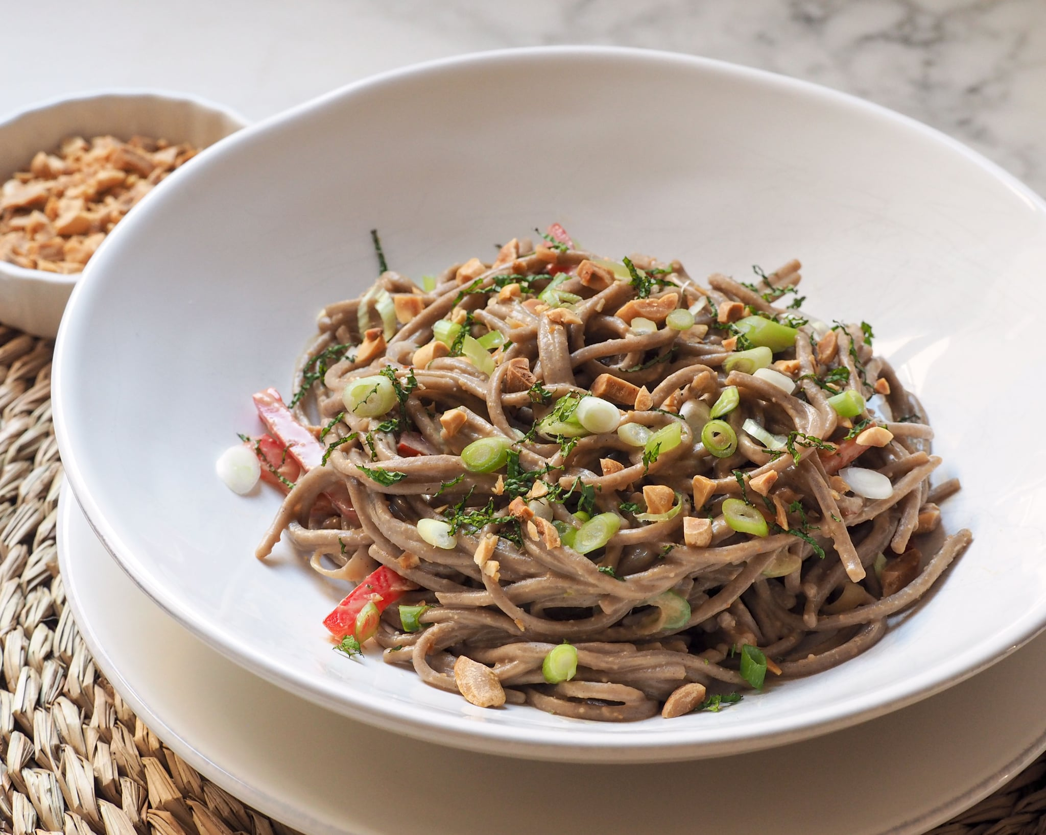 Shake up your Weeknight Routine w. Quick and Easy Asian Noodles w. Peanut Sauce