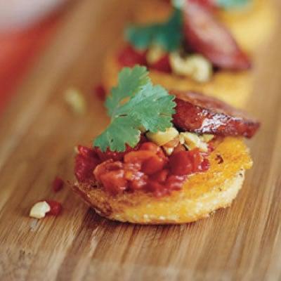 Fried Polenta with Chorizo