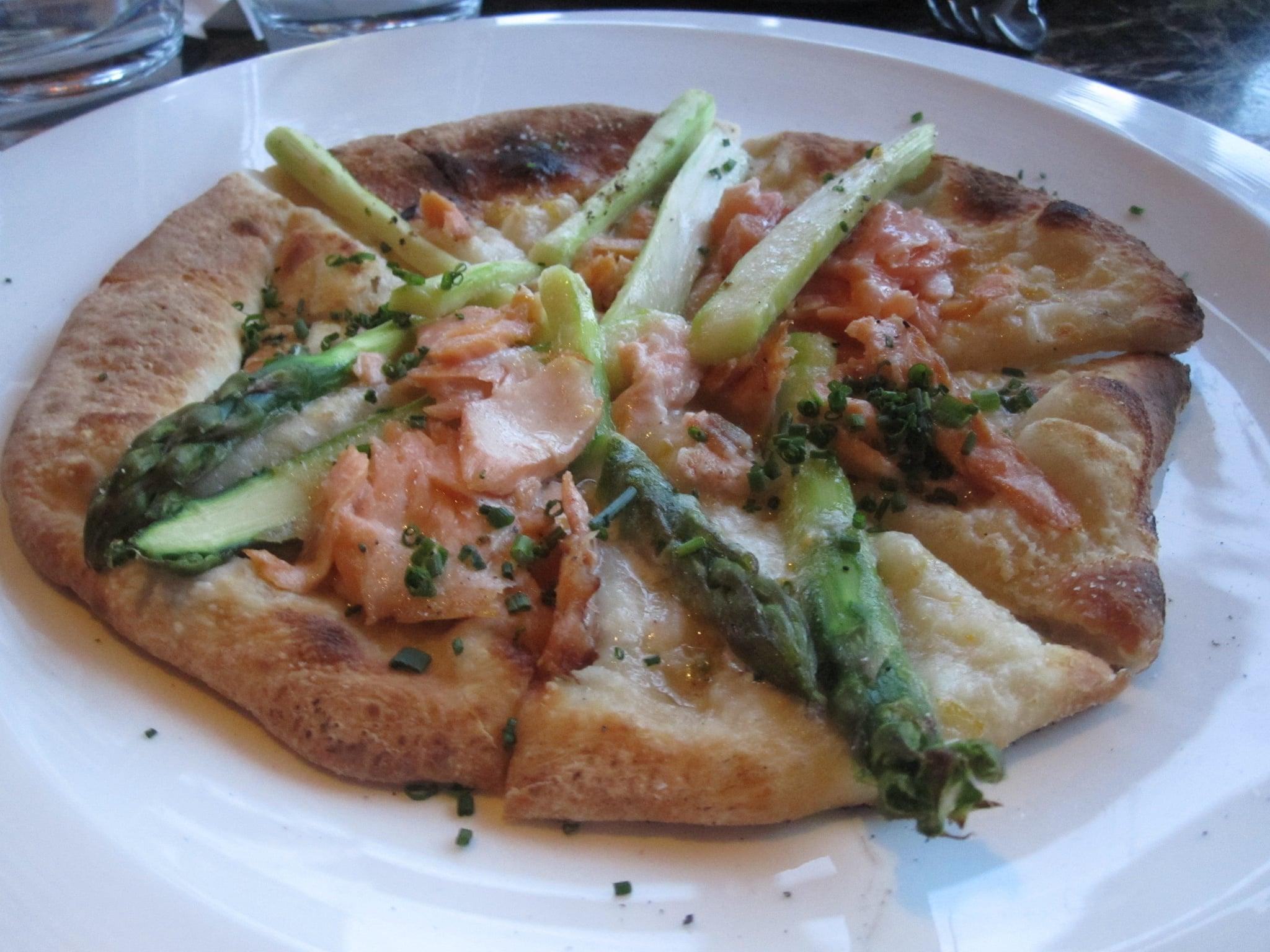 Asparagus and smoked salmon pizza!