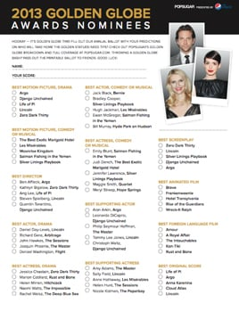 image about Golden Globe Printable Ballots identified as Golden Globes Printable Ballot 2013 POPSUGAR Amusement