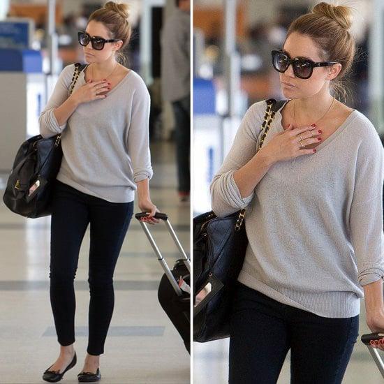 lauren conrad wearing black skinny jeans popsugar fashion