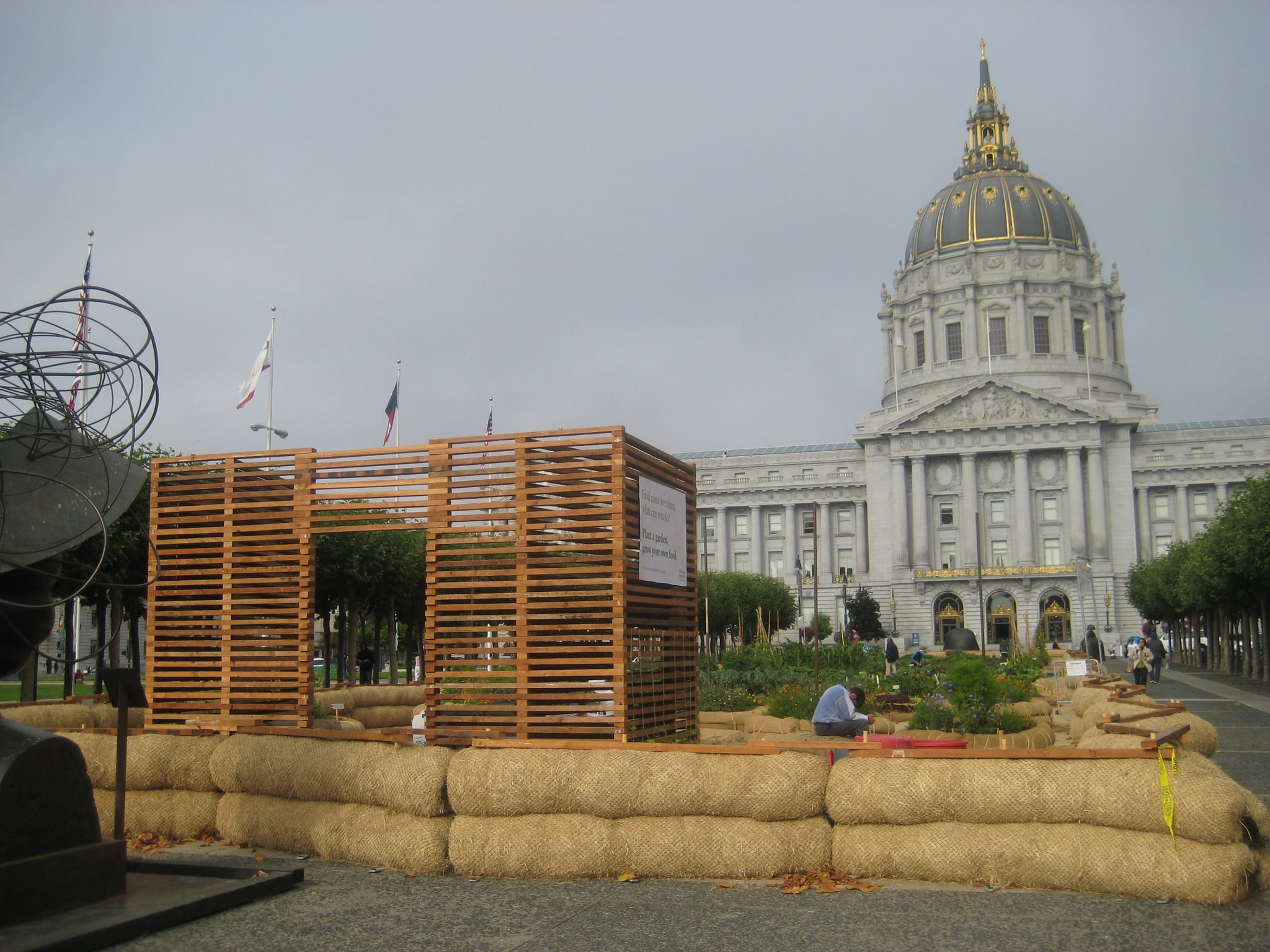 The Victory Garden is planted in front of San Francisco's City Hall.