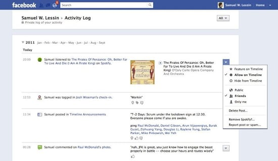 how to delete activity log in facebook