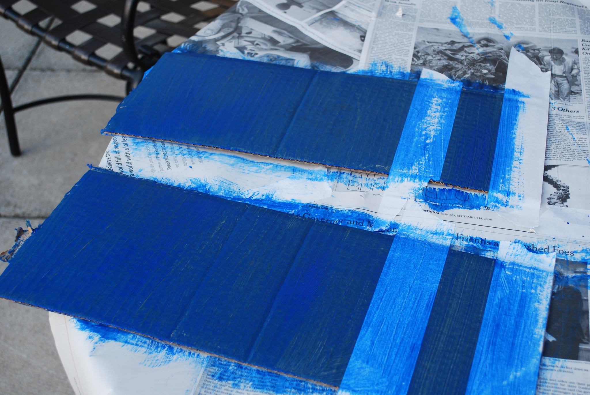 Paint the flaps the same color as the body of the plane.