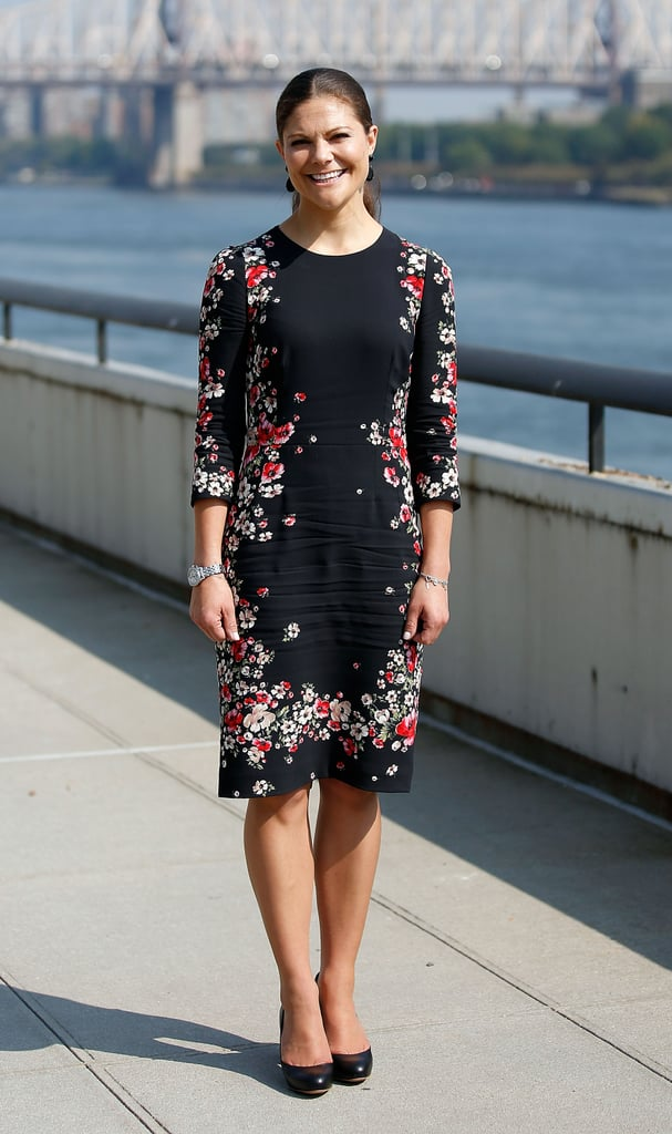 Princess Victoria of Sweden wearing a Dolce & Gabbana dress at the United Nations in 2013.