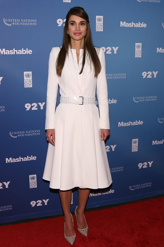 Queen Rania of Jordan wearing an Alexander McQueen coat at the Social Good Summit in 2015.
