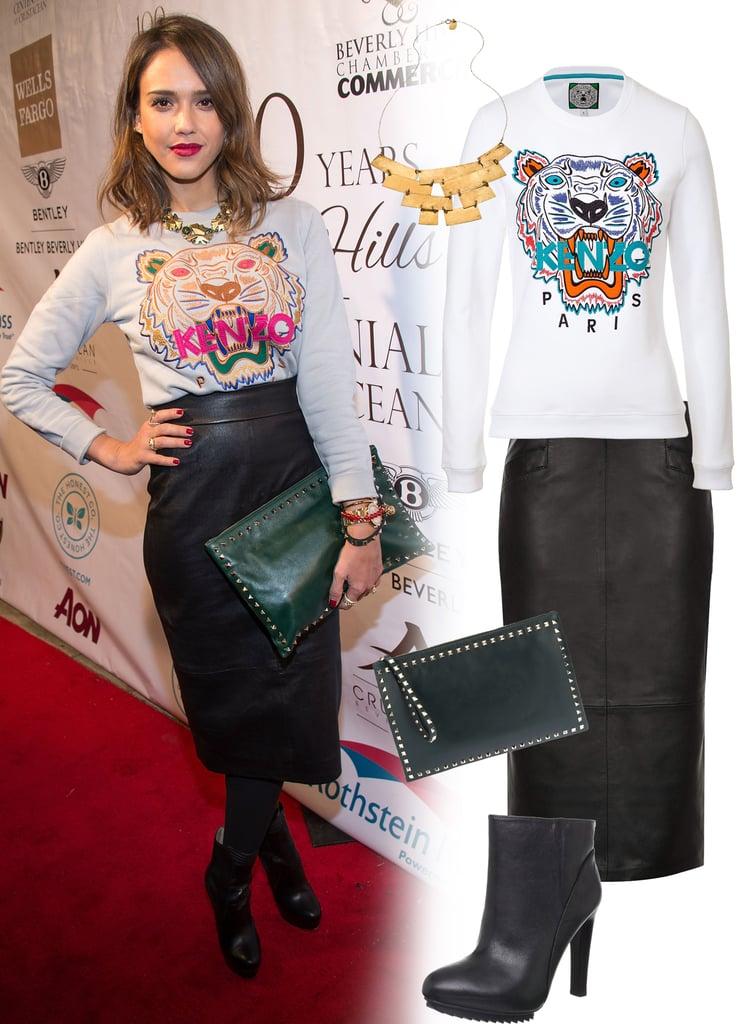 Jessica Alba Kenzo Tiger Sweatshirt And Leather Pencil