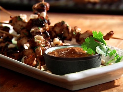 Chicken Skewers With Peanut-Ginger Marinade