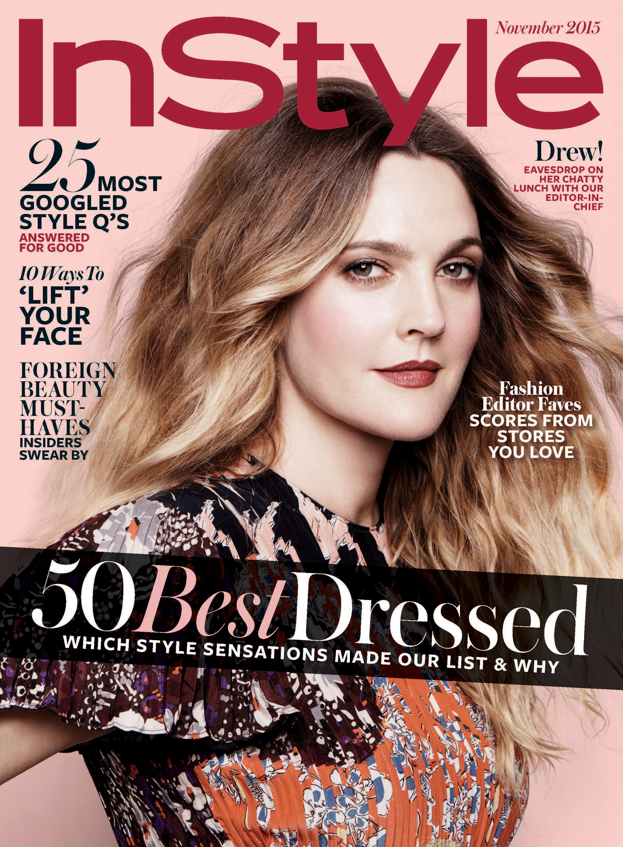 Instyle Magazine Us: Drew Barrymore In InStyle Magazine November 2015