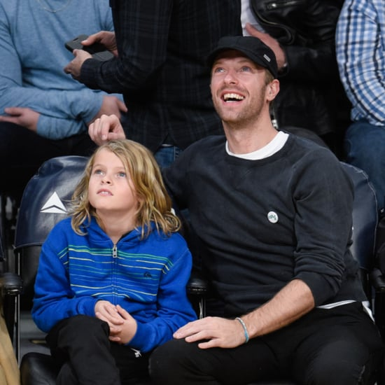 Chris Martin and Son at Lakers Game January 2016