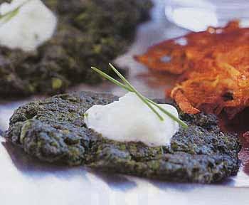 Greek-Herbed Spinach Latkes with Feta-Yogurt Sauce
