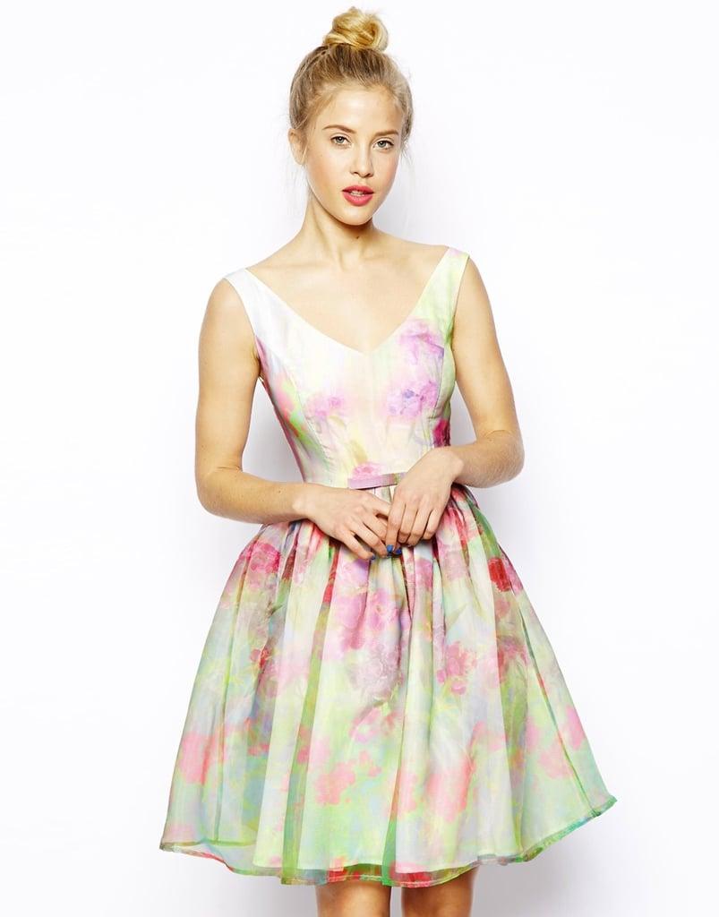 Retro pastel floral vintage style prom dress for spring for Pastel dresses for wedding guests