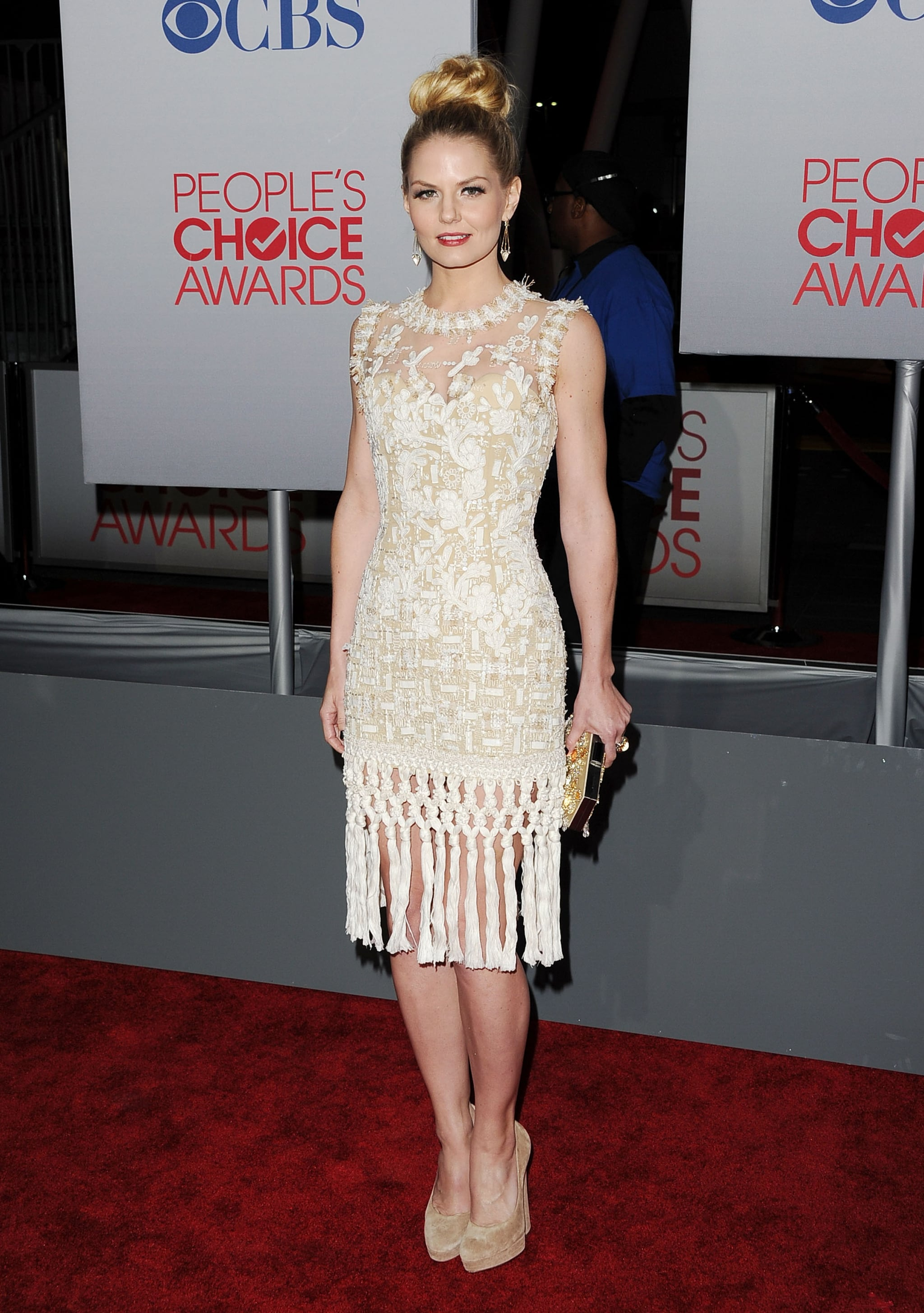 Jennifer Morrison pulled her hair into a glamorous top knot at the People's Choice Award.