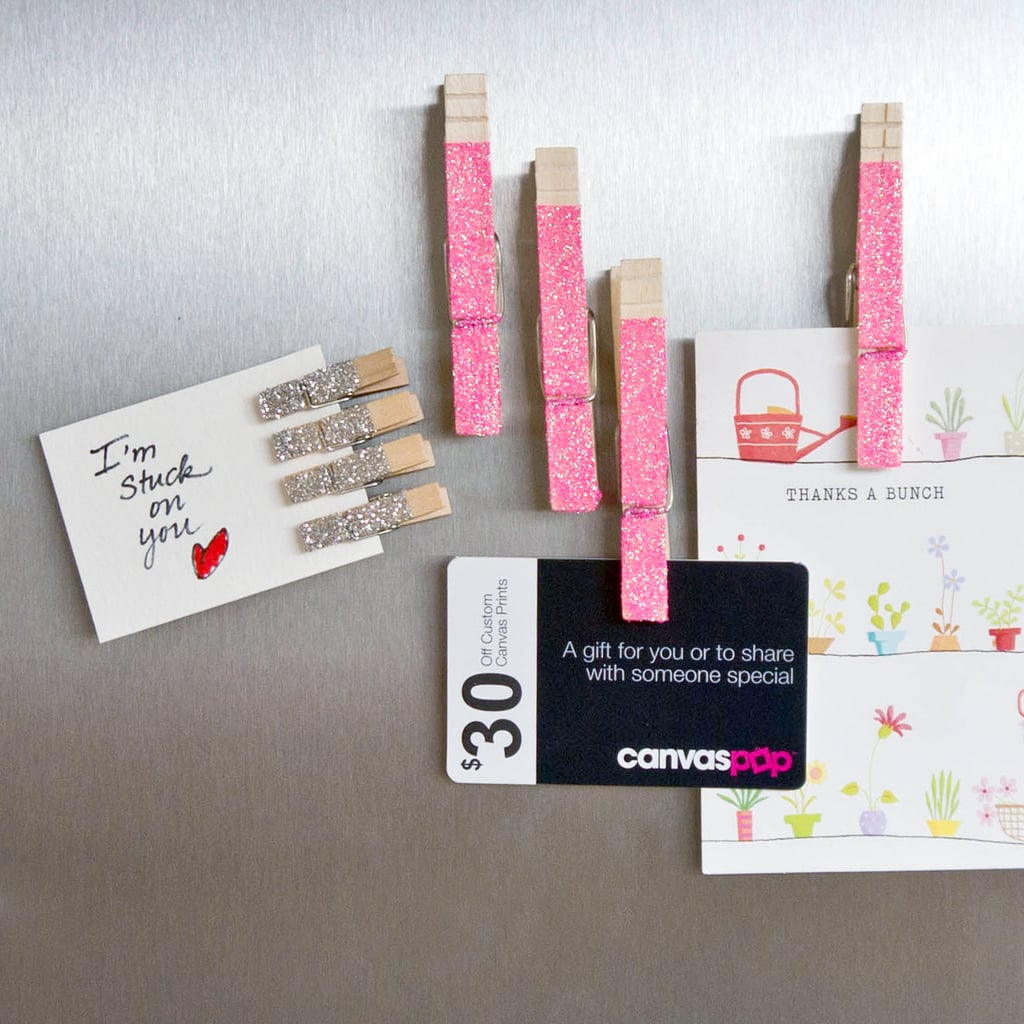 Popsugar Smart Living: DIY Glitter Clothespin Magnets